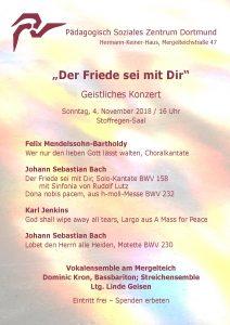 Der Friede sei mit Dir - Plakat Novemberkonzert 2018